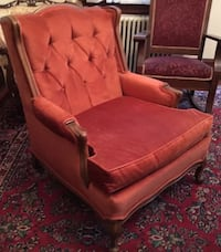 "Vintage Wood and Upholstered Living Room Chair Orange 17""h x 33.5""h (back) x 21""d (seat) x 31""d x 29""w  great condition, only lightly used, great condtion Schnecksville, 18078"