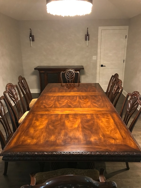 Drexel Heritage Portraits Collection Dining Room Table W 10 Chairs 2 Captains And 30 Leaf Ext