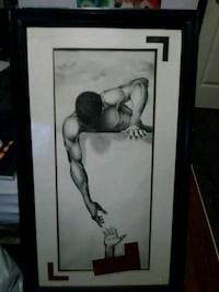 Charcoal drawing in frame