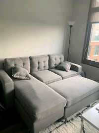 Brand New Light Grey Linen Sectional Sofa + Ottoma Silver Spring, 20910