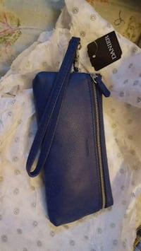 Danier leather blue wristlet with card holder