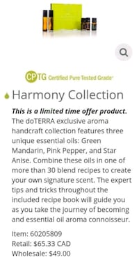 Never been opened Doterra Harmony Collection