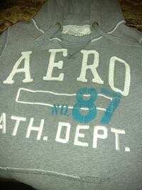 gray and white Aeropostale pullover hoodie
