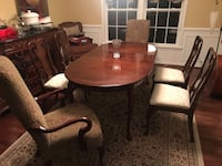 Dining room table & leaf + 6 chairs Broadlands, 20148