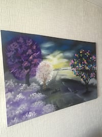 Purple and white trees painting