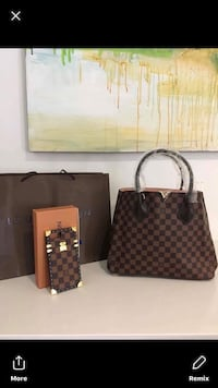 women's brown and black Louis Vuitton tote bag