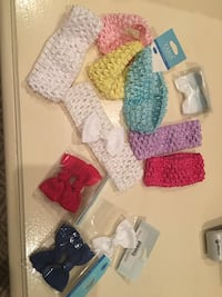 Baby bows, beanies, pacifiers, and 4th of July 0-3 months shirt. McAllen, 78501