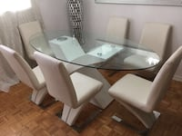 rectangular glass top table with six chairs dining set Toronto, M9L 2C4