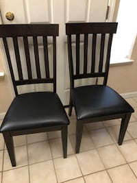 New Set of 2 Kitchen Dining Chairs Black Leather Cushion Wood Chair