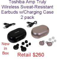 2pk Toshiba Amp Truly Wireless Sweat-Resistant Earbuds w/Charging Case Lanham