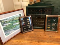Golf ball cabinet, Vintage golf frames and portrait of hole 12 at Masters 37 km