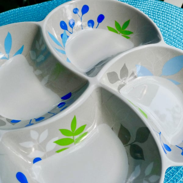 Retro Grey, Blue & Green 4 Bowl Pinwheel Melamine Tray 6638a918-92bb-44f0-b9fd-2a71e54db65e