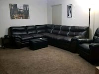 black leather sectional  Selma, 93662