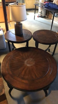 Coffee table, two end tables and lamp Saugus, 01906