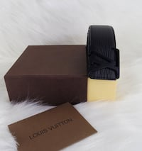 black Louis Vuitton leather belt with box