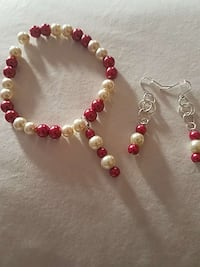 white and red beaded bracelet and earrings Cleveland, 44119