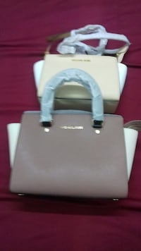 white and gray leather tote bag Melbourne, 3000