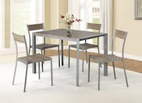 Brand new Contemporary metal weathered brown wood 5piece dining table with 4 chairs 20 mi