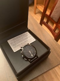 round silver chronograph watch with black strap in box Los Gatos, 95030