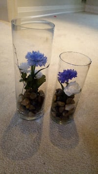 two white-and-blue floral ceramic vases Barrie