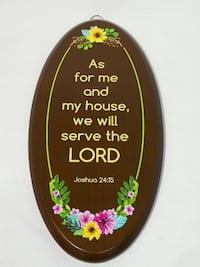 Religious Teakwood Plague With UV Printed Wordings - Vertical Oval Singapore