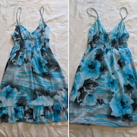 Blue grey white floral with lining dress size small