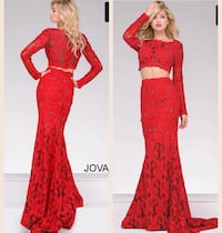 Jovani Red Lace Two Piece Prom Dress Size 4 Fairfax, 11949