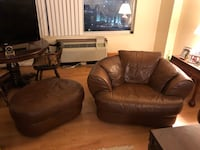 Brown leather sofa chair with ottoman Silver Spring, 20906