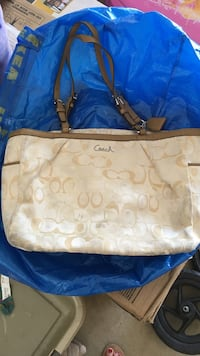 brown monogrammed Coach leather tote bag Poway, 92064