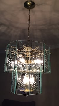 Glass shade pendant lamp Glass chandelier in mint condition