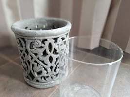 Decorative Glass Hurricane Vase with Concrete Casing