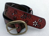 BRAND NEW Kohls Leather Belt Floral Embossed Caldwell