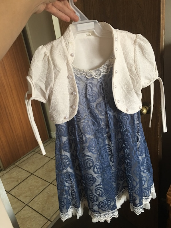 women's white and blue floral dress