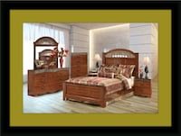 11pc Ashley cherry bedroom set with mattress Bowie