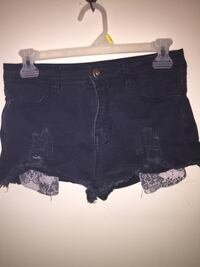 women's black denim short shorts Welland, L3C 6C1