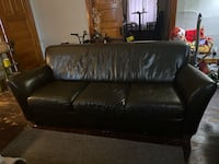 Brown Faux Leather 3 Seat Couch.