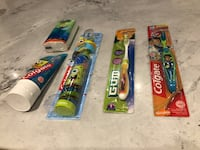Children toothbrushes  x 3 & toothpaste