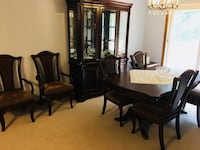 rectangular brown wooden table with six chairs dining set 395 mi