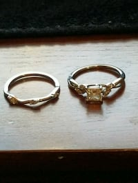 two silver-colored rings with clear gemstones Hyattsville, 20785