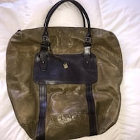 Army green men's leather john varvatos tote bag  Washington, 20001
