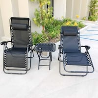 New in box 3 pcs set 2 zero gravity chair reclining lounge chair with table set  Whittier, 90605
