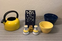 Blue Wrought Iron Utensil Holder, Yellow Tea Pot,Salt & Pepper Shakers ,1 yellow hard boiled egg dish and 2 mixing bowls Bakersfield, 93308