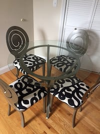 QUICK SALE: Contemporary refinished glass dining table set! 28 mi