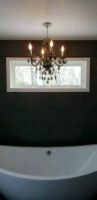 Black/smoke chandelier. 4 light, 21 3/4 x 23 Alexandria, 22309