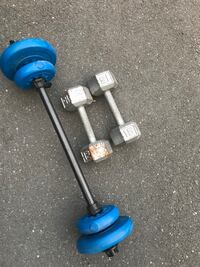2 15pound dumbbells and 15 pound plastic barbell.
