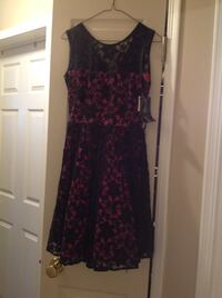 Betsy Adams black and pink lace fit and flare, new with tags, size 4