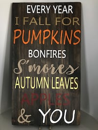 brown wooden quote canvas with Every year i fall for pumpkins prin Essa, L0M