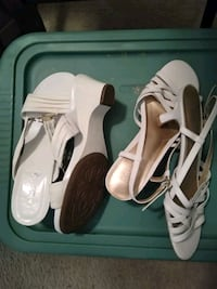 2 pair of white leather open toe ankle strap heels Germantown, 20874