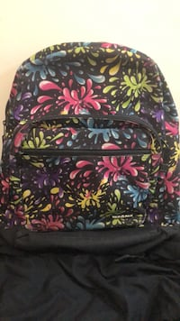 black, pink, and white floral backpack Stafford, 22554