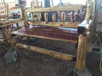 brown wooden bench with black metal base Greenville, 75401